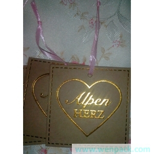 custom printed logo gift price kraft paper hangtag/garment hang tag