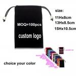 custom printed velvet gift bag/jewelry silk pouch/small drawstring bag