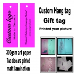 custom printed clothes price paper gift hang tag/logo swing hang tag/free fee design