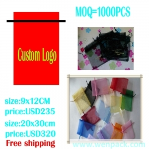 custom printed logo gift organza pouch/jewelry packaging and display pouch/drawstring small bag